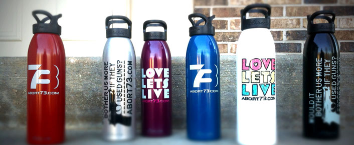 Pro-Life water bottles from Abort73.com