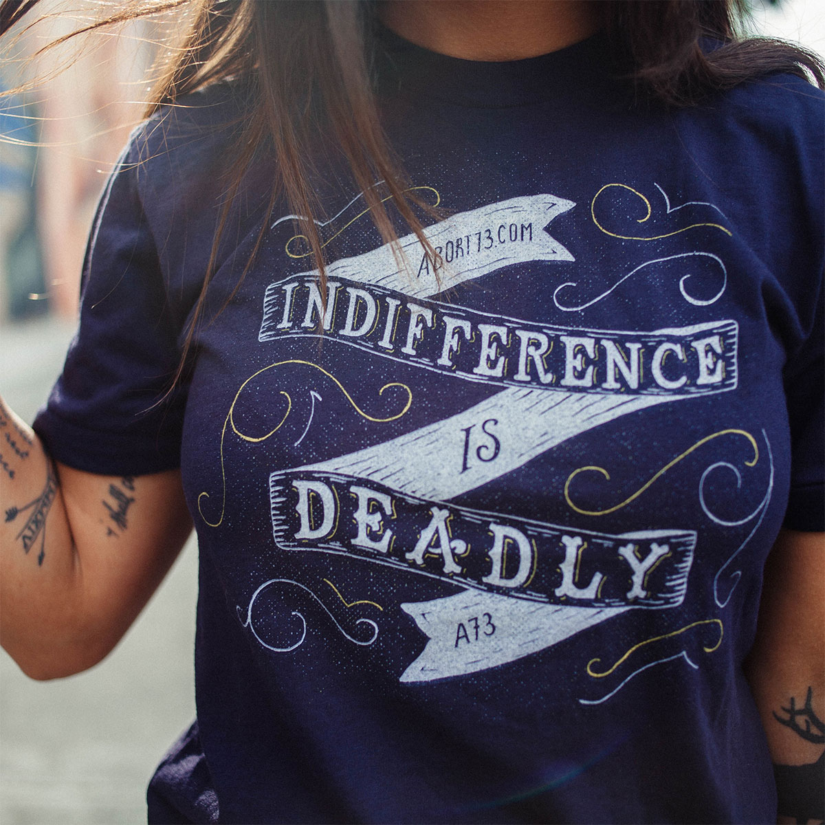 Indifference is Deadly (Abort73 Unisex 50/50 T-shirt)