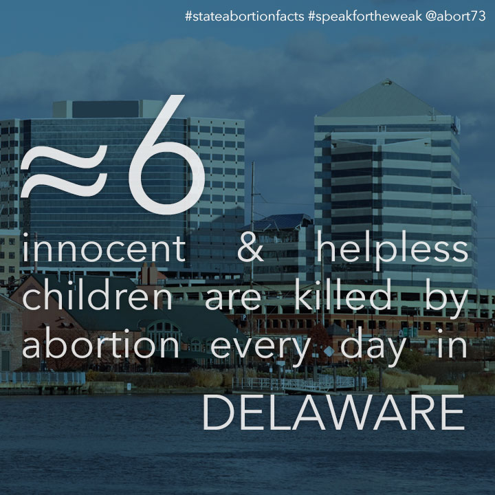 ≈ 8 innocent & helpless children are killed by abortion every day in Delaware