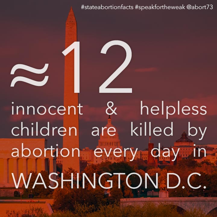≈ 15 innocent & helpless children are killed by abortion every day in Washington D.C.