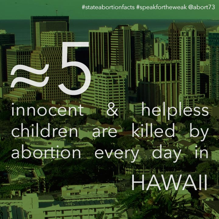 ≈ 10 innocent & helpless children are killed by abortion every day in Hawaii