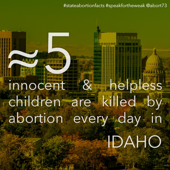 ≈ 4 innocent & helpless children are killed by abortion every day in Idaho