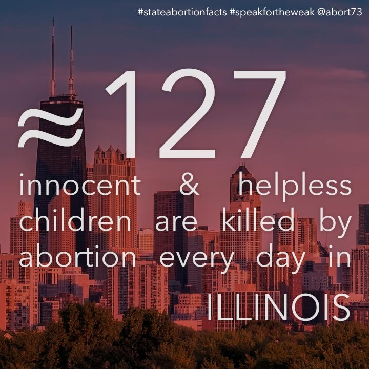 ≈ 95 innocent & helpless children are killed by abortion every day in Illinois