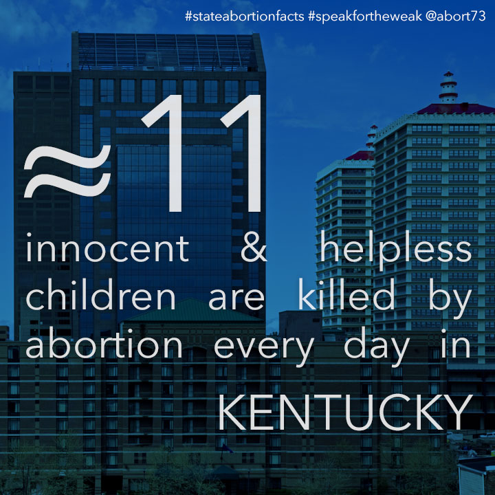 ≈ 9 innocent & helpless children are killed by abortion every day in Kentucky