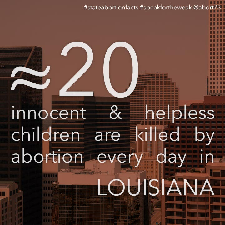 ≈ 28 innocent & helpless children are killed by abortion every day in Louisiana