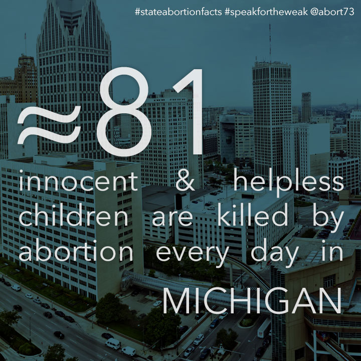 ≈ 74 innocent & helpless children are killed by abortion every day in Michigan