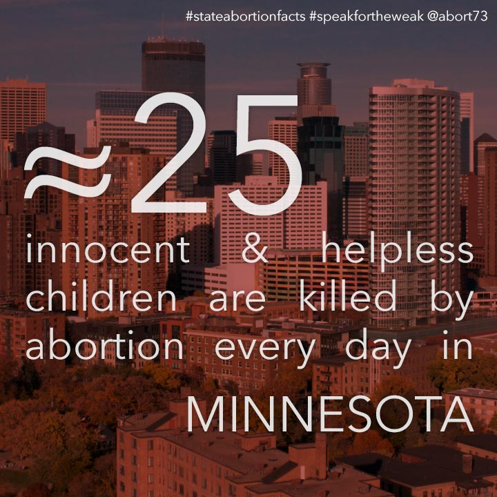 ≈ 27 innocent & helpless children are killed by abortion every day in Minnesota