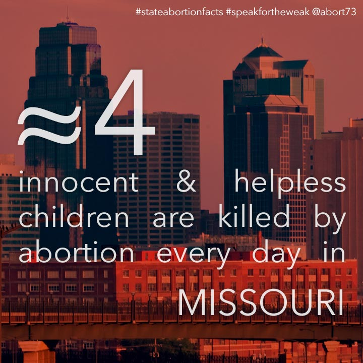 ≈ 13 innocent & helpless children are killed by abortion every day in Missouri