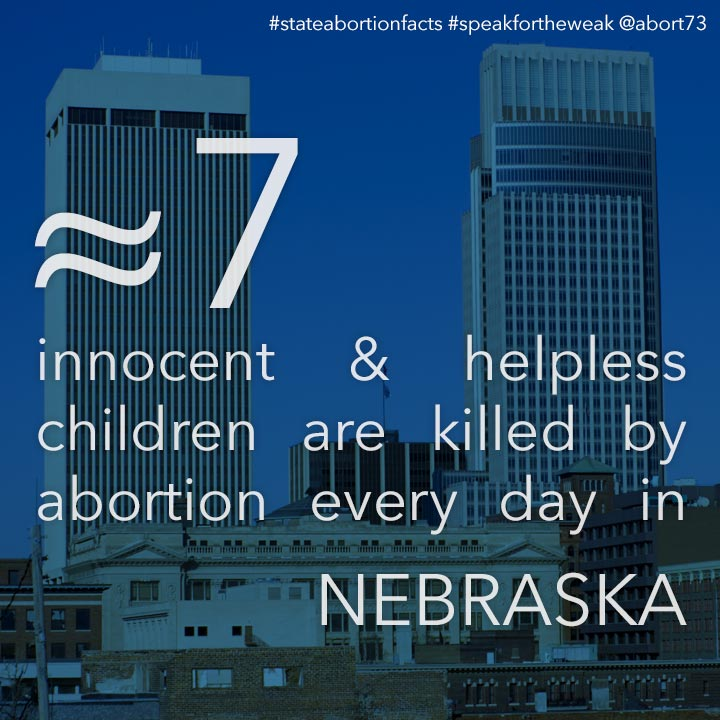 ≈ 5 innocent & helpless children are killed by abortion every day in Nebraska