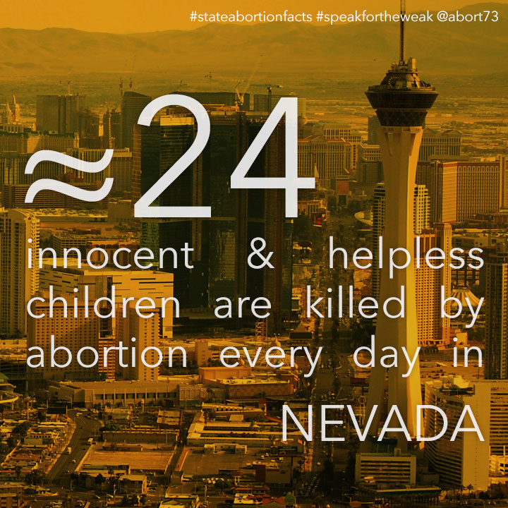 ≈ 30 innocent & helpless children are killed by abortion every day in Nevada