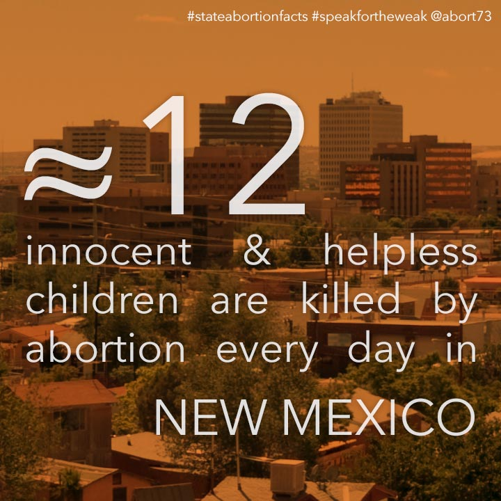 ≈ 11 innocent & helpless children are killed by abortion every day in New Mexico
