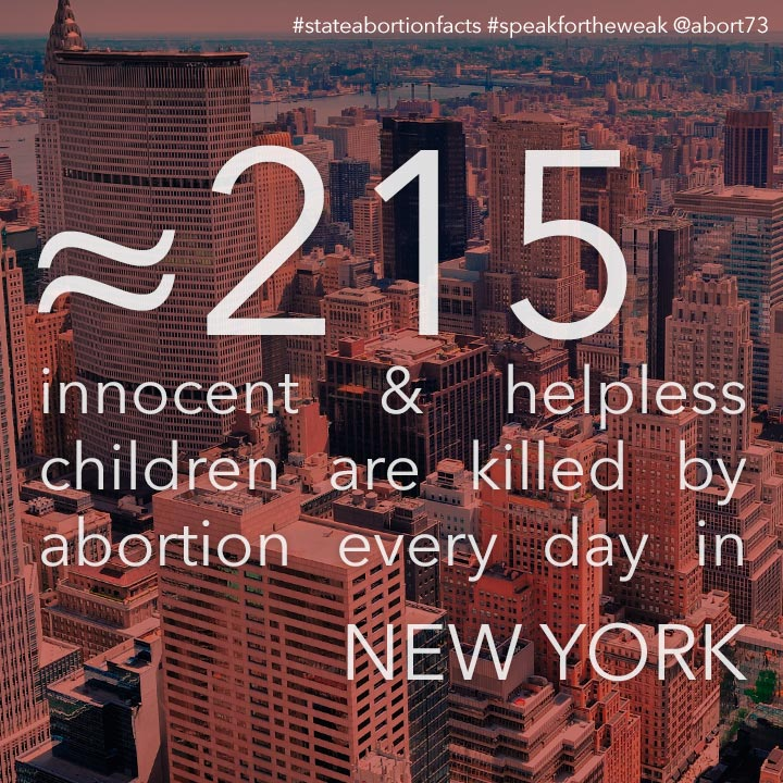 ≈ 255 innocent & helpless children are killed by abortion every day in New York