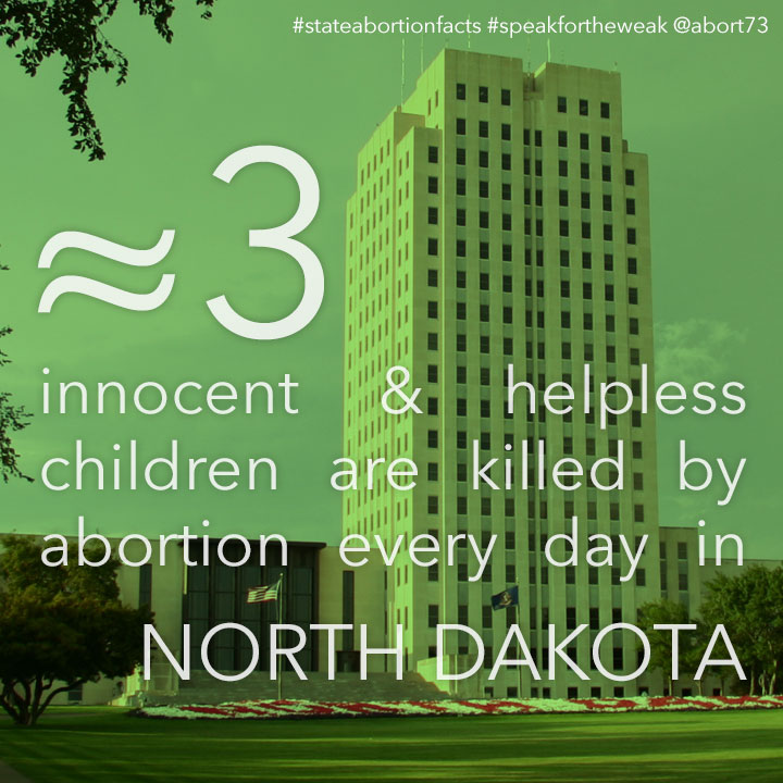 ≈ 3 innocent & helpless children are killed by abortion every day in North Dakota