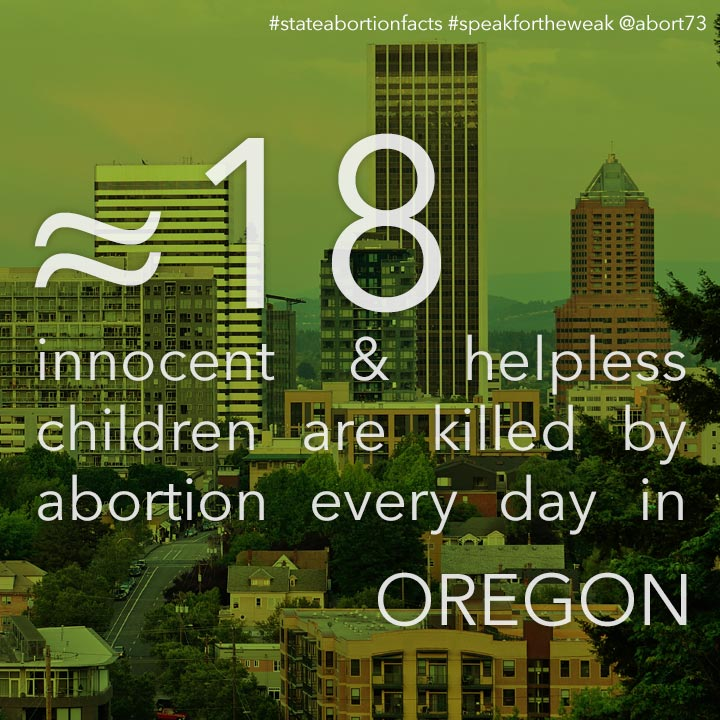 ≈ 24 innocent & helpless children are killed by abortion every day in Oregon