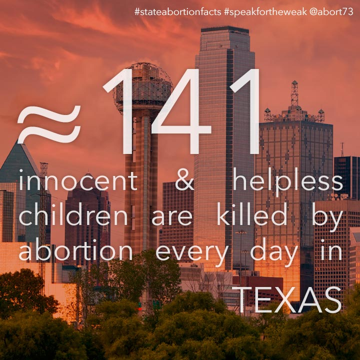 ≈ 146 innocent & helpless children are killed by abortion every day in Texas