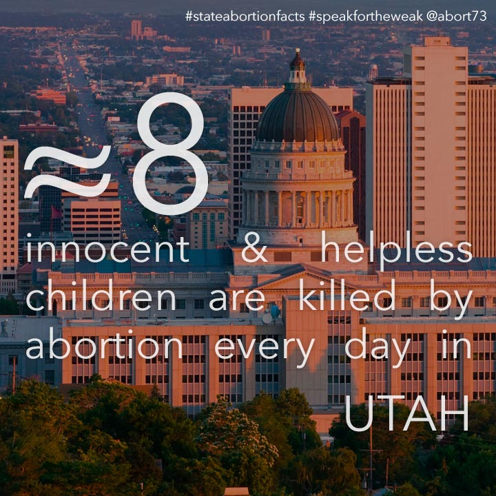 ≈ 8 innocent & helpless children are killed by abortion every day in Utah
