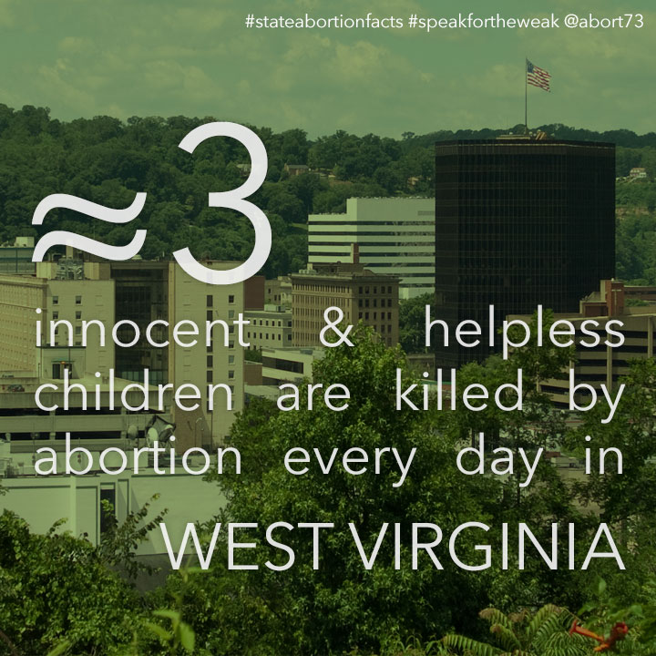 ≈ 5 innocent & helpless children are killed by abortion every day in West Virginia